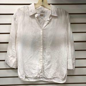 Talbots White Linen Button Down Blouse Size 6